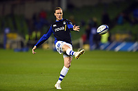 James Wilson of Bath Rugby practises his place kicking during the pre-match warm-up. Heineken Champions Cup match, between Leinster Rugby and Bath Rugby on December 15, 2018 at the Aviva Stadium in Dublin, Republic of Ireland. Photo by: Patrick Khachfe / Onside Images