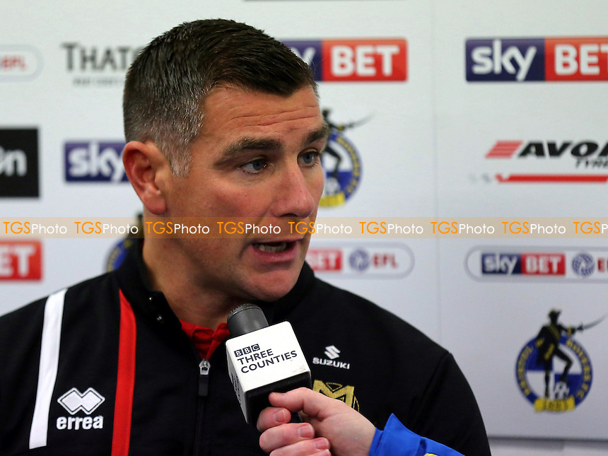 MK Dons Interim Manager, Richie Barker, being interviewed by Three Counties Radio post match during Bristol Rovers vs MK Dons, Sky Bet EFL League 1 Football at the Memorial Stadium on 19th November 2016