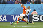 Arjen Robben (NED), Javier Mascherano (ARG),<br /> JULY 9, 2014 - Football / Soccer :<br /> FIFA World Cup 2014 semi-final match between Netherlands 0(2-4)0 Argentina at Arena De Sao Paulo Stadium in Sao Paulo, Brazil. (Photo by AFLO) [3604]