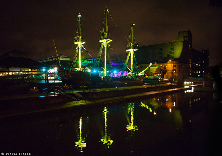 The Tobacco Dock pirate ship in Wapping is illuminated at night for the launch party of Tobacco Dock as a new East London event venue.