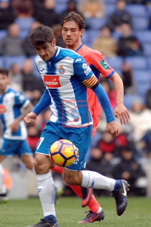 League Santander 2016/2017. Game: 19.<br /> RCD Espanyol vs Granada CF: 3-1.<br /> Gerard Moreno vs Kravets.