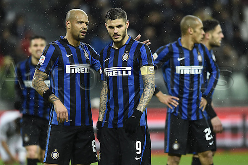 28.02.2016. Juventus Stadium, Turin, Italy. Serie A Football. Juventus versus Inter Milan.  Inter  players unhappy with the result 2-0