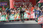 Benjamin King (USA) Team Dimension Data pulls away from Nikita Stalnov (KAZ) Astana Pro Team from the breakaway group to win Stage 4 of the La Vuelta 2018, running 162km from Velez-Malaga to Alfacar, Sierra de la Alfaguara, Andalucia, Spain. 28th August 2018.<br /> Picture: Colin Flockton   Cyclefile<br /> <br /> <br /> All photos usage must carry mandatory copyright credit (&copy; Cyclefile   Colin Flockton)