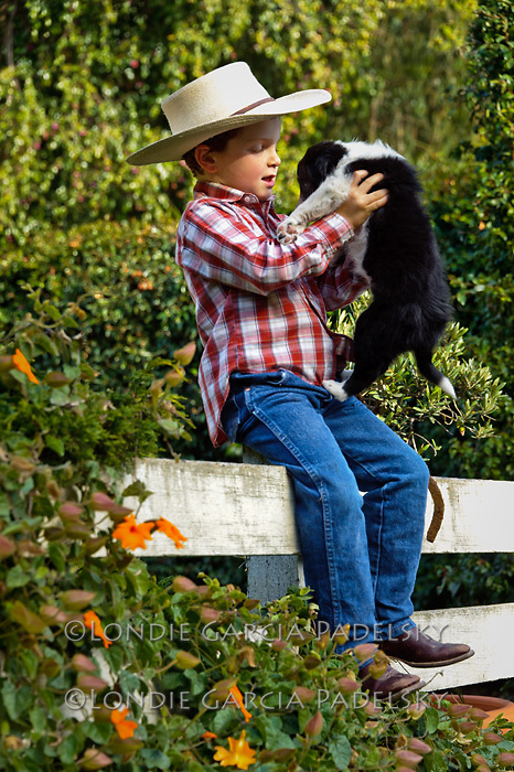 Ethan with his border collie puppy.