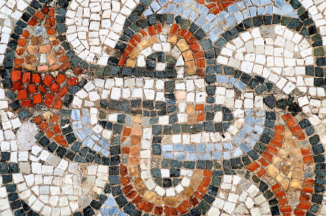 Mosaic tiles on the floor of the synagogue in Sardis, Turkey