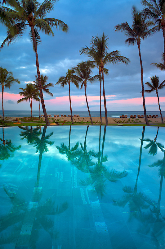 Reflection in infinity pool at Four Seasons Resort. Hawaii, The Big Island
