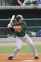 Savannah Sand Gnats second baseman Brandon Brown #30 at bat during a game against the Charleston Riverdogs at Joseph P. Riley Jr. Park on May 16, 2012 in Charleston, South Carolina. Charleston defeated Savannah by the score of 14-5. (Robert Gurganus/Four Seam Images)