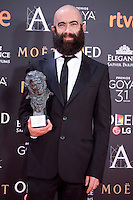 Carlos Diez Diez pose to the media with the Goya award at Madrid Marriott Auditorium Hotel in Madrid, Spain. February 04, 2017. (ALTERPHOTOS/BorjaB.Hojas) /NORTEPHOTO.COM