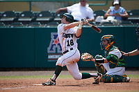 Dartmouth Big Green catcher Adam Gauthier (18) at bat in front of catcher Tyler Dietrich during a game against the South Florida Bulls on March 27, 2016 at USF Baseball Stadium in Tampa, Florida.  South Florida defeated Dartmouth 4-0.  (Mike Janes/Four Seam Images)