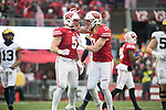 Wisconsin Badgers linebackers Garret Dooley (5) and Andrew Van Ginkel (17) celebrate during an NCAA College Big Ten Conference football game against the Michigan Wolverines Saturday, November 18, 2017, in Madison, Wis. The Badgers won 24-10. (Photo by David Stluka)