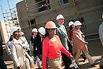 """JOHANNESBURG, SOUTH AFRICA AUGUST 10: Oprah Winfrey inspects the construction on the site of her school """"Oprah Winfrey Leadership Academy for Girls"""" located about 40 miles south of Johannesburg in Henley-on-Klip, Meyerton. Oprah visited South Africa to interview girls and to inspect the construction of the school. (Photo by Per-Anders Pettersson)..."""