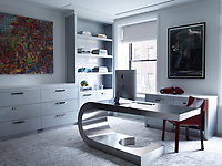 In the study, the desk is by Marzio Cecchim the Mario Bellini chair is by Cassina, the cabinetry is custom, and the artworks are by Elliott Hundley and Jasper Johns.