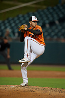 Bowie Baysox pitcher Cristian Alvarado (32) during an Eastern League game against the Richmond Flying Squirrels on August 15, 2019 at Prince George's Stadium in Bowie, Maryland.  Bowie defeated Richmond 4-3.  (Mike Janes/Four Seam Images)
