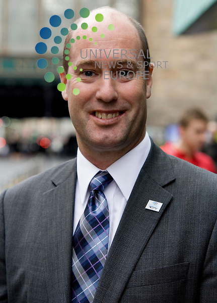 Emirates Airline  announce.sponsorship of Scottish team for 2010 Commonwealth Games in Delhi. Former rugby player Gavin Hastings attends and  meets athletes with jon doig, chief executive of commonwealth games scotland, and laurie berryman, emirates area manager uk. head shot of  jon doig .Commonwealth Games in Delhi 2010, at  Radisson Hotel,  Argyle Street Glasgow..gavin hastings and jon doig.universal news and sport (scotland) 30/04/2009.