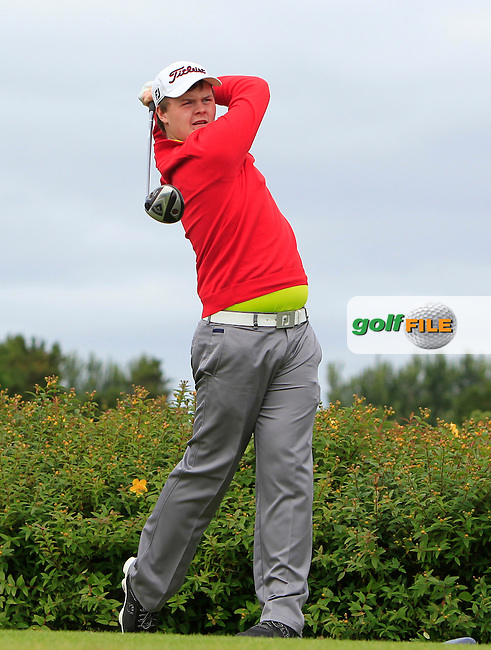 Andrew Hickey (Ballyhaunis) on the 18th tee during R1 of the 2016 Connacht U18 Boys Open, played at Galway Golf Club, Galway, Galway, Ireland. 05/07/2016. <br /> Picture: Thos Caffrey | Golffile<br /> <br /> All photos usage must carry mandatory copyright credit   (&copy; Golffile | Thos Caffrey)