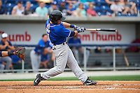 Biloxi Shuckers outfielder Nathan Orf (4) hits a double during the first game of a double header against the Pensacola Blue Wahoos on April 26, 2015 at Pensacola Bayfront Stadium in Pensacola, Florida.  Biloxi defeated Pensacola 2-1.  (Mike Janes/Four Seam Images)