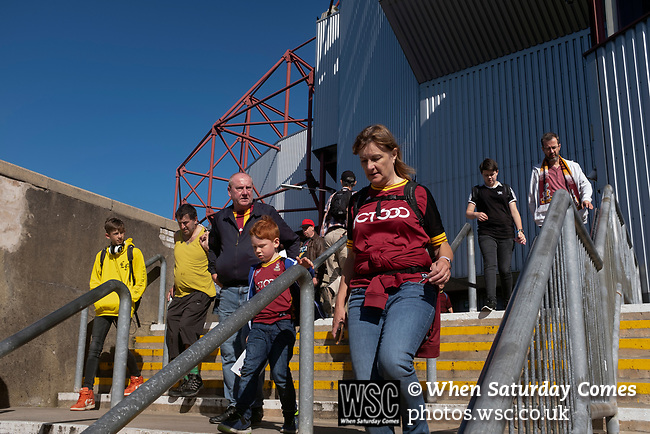 Bradford City 3, Carlisle United 1, 21/09/2019. Valley Parade, EFL League 2. Home supporters arriving at the ground before Bradford City played Carlisle United in a Skybet League 2 fixture at Valley Parade. The home team were looking to bounce back after being relegated during a disastrous 2018-19 season on and off the pitch. Bradford won the match 3-1, watched by a crowd of 14, 217. Photo by Colin McPherson.