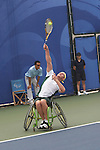 Australia's Ben Weekes bows out of the Men's Open singles in the first round, going down to Yoshinobu Fujimoto of Japan, 5-7, 4-6. Olympic Green Tennis Centre, Beijing Paralympic Games, Monday Sept 8, 2008
