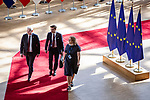 BRUSSELS - BELGIUM - 21 June 2019 -- European Council, summit meeting with heads of state. -- Antti Rinne Prime Minister of Finland arriving to the EU Council with members of delegation. -- PHOTO: Juha ROININEN / EUP-IMAGES