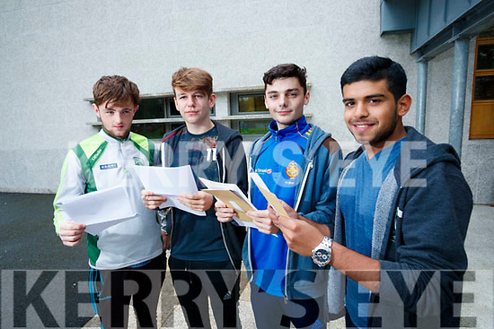 CBS, The Green, Tralee, students who received their Leaving Certificate results on Wednesday morning last were l-r: Michael Flynn (Tralee), Edward O'Sullivan (Ballymac), Ross Mansfield (Ballymac) and Jebin John (Tralee).