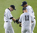(L-R) Ichiro Suzuki, Brett Gardner, Vernon Wells (Yankees),.MAY 17, 2013 - MLB :.Ichiro Suzuki, Brett Gardner and Vernon Wells of the New York Yankees during the baseball game against the Toronto Blue Jays at Yankee Stadium in The Bronx, New York, United States. (Photo by AFLO)