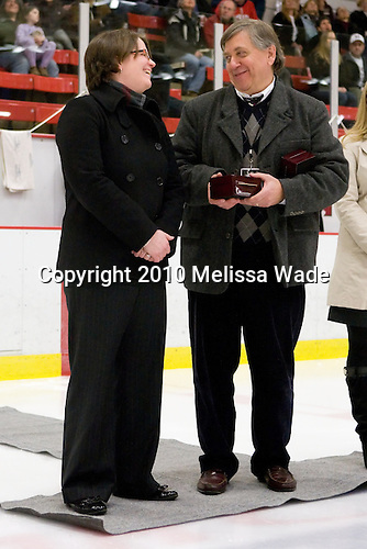 Hilary Witt (Yale Head Coach and Northeastern honoree), Joe Bertagna - The Harvard University Crimson defeated the Northeastern University Huskies 1-0 to win the 2010 Beanpot on Tuesday, February 9, 2010, at the Bright Hockey Center in Cambridge, Massachusetts.