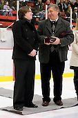 Hilary Witt (Yale Head Coach and Northeastern honoree), Joe Bertagna - The Harvard University Crimson defeated the Northeastern University Huskies 1-0 to win the 2010 Beanpot on Tuesday, February 9, 2010, at the Bright Hockey Center in Cambridge, Massachusetts.