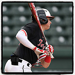 Utah Jones of the North Greenville Crusaders bats in a game against the Queens University Royals on Tuesday, March 12, 2019, at Fluor Field at the West End in Greenville, South Carolina. North Greenville won, 14-3. (Tom Priddy/Four Seam Images)