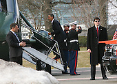 United States President Barack Obama boards Marine One at the National Naval Medical Center in Bethesda, Maryland on Sunday, February 28, 2010, where he underwent a physical examination done on a yearly basis.  .Credit: Gary Fabiano / Pool via CNP