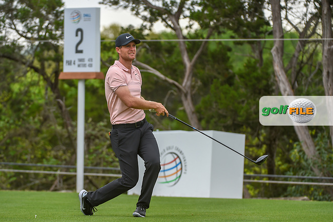 Lucas Bjerregaard (DEN) watches his tee shot on 2 during day 3 of the WGC Dell Match Play, at the Austin Country Club, Austin, Texas, USA. 3/29/2019.<br /> Picture: Golffile | Ken Murray<br /> <br /> <br /> All photo usage must carry mandatory copyright credit (© Golffile | Ken Murray)