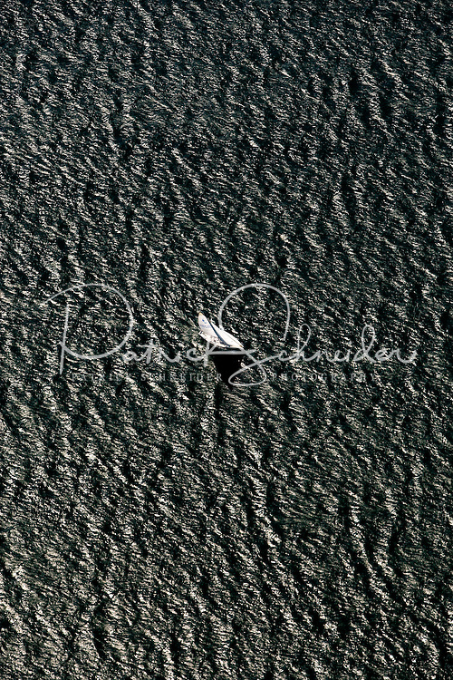Aerial photo of a boat on Lake Norman in Mecklenburg County, NC, taken May 2008.