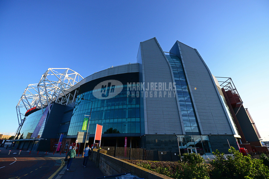 Jul 30, 2012; Manchester , United Kingdom; Overall exterior view of Old Trafford , home of the Manchester United during the 2012 London Olympic Games. Mandatory Credit: Mark J. Rebilas-USA TODAY Sports