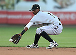 Omaha Storm Chasers' Pedro Ciriaco makes a play against the Reno Aces, in Reno, Nev., on Sunday, Aug. 24, 2014.<br /> Photo by Cathleen Allison
