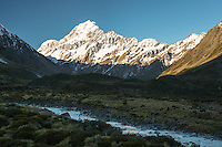 Afternoon light on Aoraki Mount Cook 3,724m with Hooker River, Aoraki Mt. Cook National Park, UNESCO World Heritage Area, Mackenzie Country, New Zealand, NZ