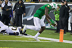 Oct 07, 2015; Eugene, OR, USA; Oregon Ducks wide receiver Bralon Addison (2) reaches for the end zone  for a touchdown against the California Golden Bears at Autzen Stadium. <br /> Photo by Jaime Valdez