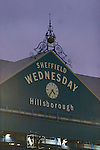 The clock and roof of the main stand pictured as Sheffield Wednesday take on Peterborough United in a Coca-Cola Championship match at Hillsborough Stadium, Sheffield. The home side won by 2 goals to 1 giving Alan Irvine his third straight win since taking over as Wednesday's manager.