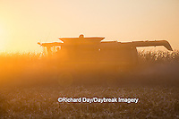 63801-06710 John Deere combine harvesting corn at sunset, Marion Co., IL