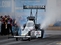 Sep 14, 2018; Mohnton, PA, USA; NHRA top fuel driver Antron Brown during qualifying for the Dodge Nationals at Maple Grove Raceway. Mandatory Credit: Mark J. Rebilas-USA TODAY Sports