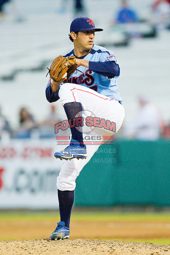 Tennessee Smokies relief pitcher Casey Weathers #27 in action against the Jackson Generals at Smokies Park on April 14, 2012 in Kodak, Tennessee.  The Smokies defeated the Generals 5-2.  (Brian Westerholt/Four Seam Images)