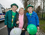 170318<br /> Callum Keogh Mulqueen (9), Chloe Darcy (8) and Kyle Keogh Mulqueen (7) during St Patricks Day parade in Shannon.Pic Arthur Ellis.