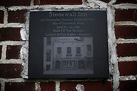 A memorial is seen at the entrance of the Stonewall Inn bar in New York. 25.06.2015. The Stonewall Inn, the birthplaces of the modern gay rights movement, the Greenwich Village bar for the LGBT community was made a New York City landmark on Tuesday,  Eduardo MunozAlvarez/VIEWpress.
