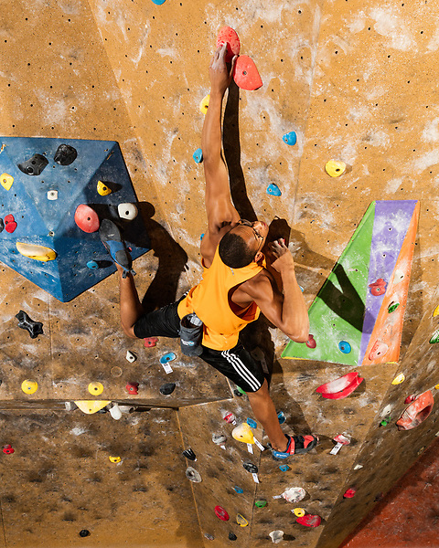 March 20, 2017. Fayetteville, North Carolina.<br /> <br /> Kai Lightner has been an active competition climber since the age of 7, when he attended his first Youth National championship.  Since that time he has earned 9 National championship titles and 1 Youth World championship title. Kai won his first adult national championship title at the age of 15, the first year he was eligible to compete.