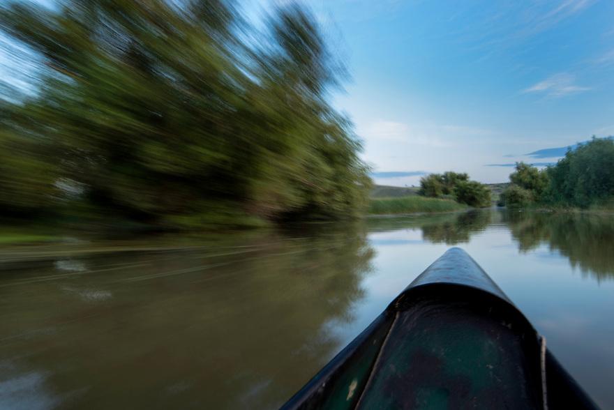 Canoe trip on the river, Aquatic komplex Somova-Parches, close to Somova village, upper Danube Delta, Romania.