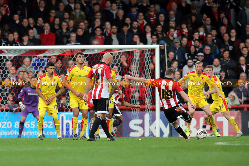 Brentford's Alan Judge hits a free-kick just wide of the Rotherham goal during Brentford vs Rotherham United, Sky Bet Championship Football at Griffin Park, London, England on 17/10/2015