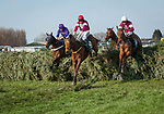 LIVERPOOL - APRIL 14: #40 Road to Roses leads a group over a fence in the Randox Health Grand National Steeplechase at Aintree Racecourse in Liverpool, UK (Photo by Sophie Shore/Eclipse Sportswire/Getty Images)