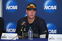 Gavin Sheets (24) of the Wake Forest Demon Deacons answers questions following the game against the Florida Gators in Game Three of the Gainesville Super Regional of the 2017 College World Series at Alfred McKethan Stadium at Perry Field on June 12, 2017 in Gainesville, Florida. The Gators defeated the Demon Deacons 3-0 to advance to the College World Series in Omaha, Nebraska. (Brian Westerholt/Four Seam Images)