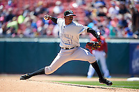 Louisville Bats pitcher Raisel Iglesias (31) delivers a pitch during a game against the Buffalo Bisons on May 2, 2015 at Coca-Cola Field in Buffalo, New York.  Louisville defeated Buffalo 5-2.  (Mike Janes/Four Seam Images)