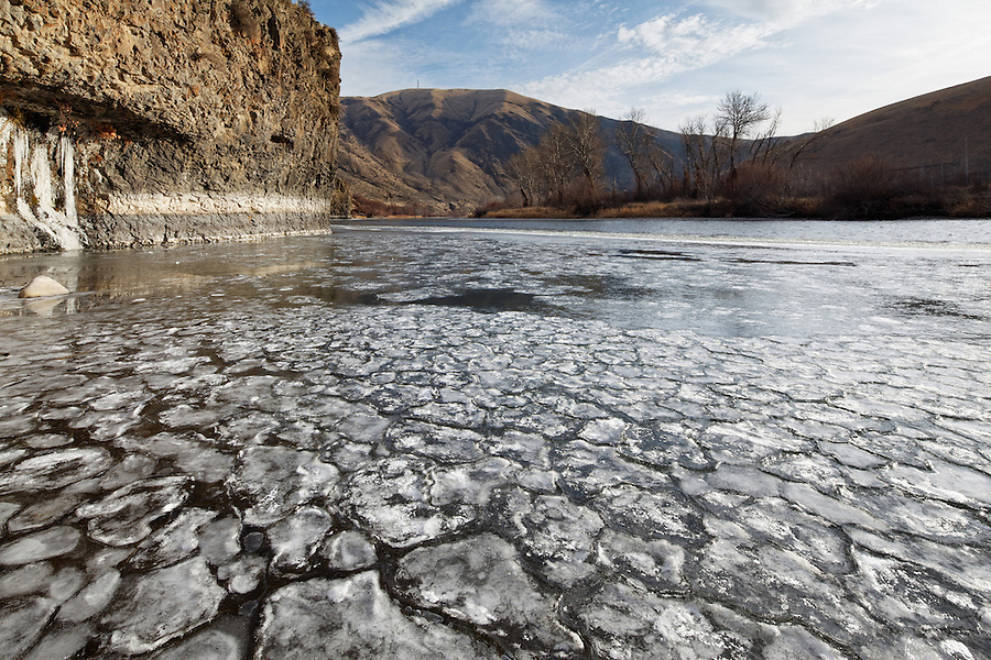 Pancake ice floating on the Yakima River, Yakima, Washington, USA