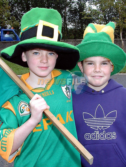 TJ Durkin and David Murray from Duleek Boys National School awaiting the arrival of the Sam Maguire to the school on Thursday..Picture Paul Mohan Newsfile