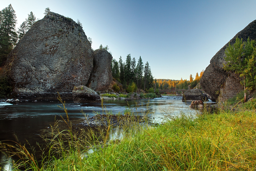 The Spokane River flows between basalt towers at Riverside State Park in an area known as Bowl and Pitcher, Spokane, Washington, USA